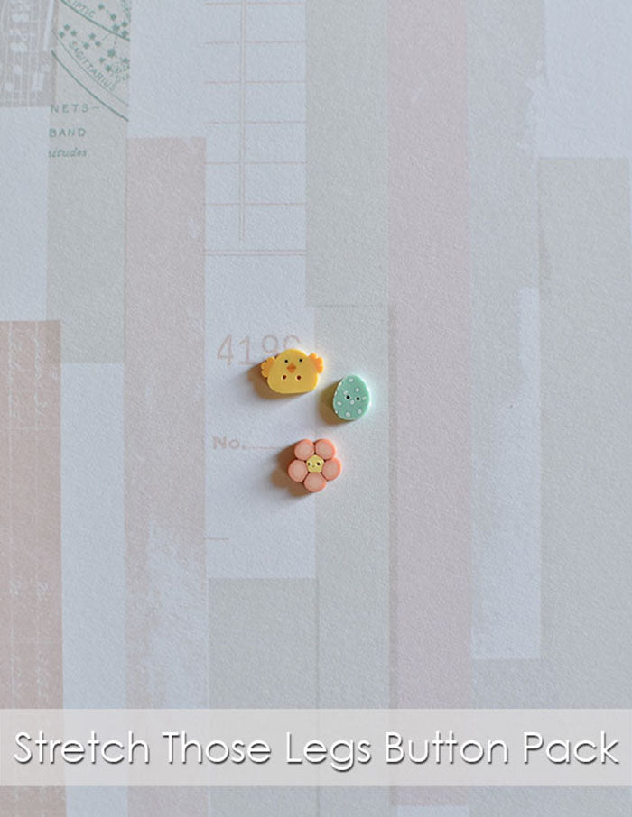Stretch Those Legs button pack. Just Another Button Company tiny chic, wee robin egg and peach flower buttons.