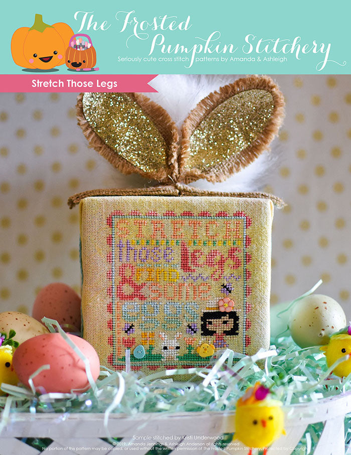 Stretch Those Legs counted cross stitch pattern. An Easter egg hunting little girl with a hat with a button on it is looking for eggs with a bunny. Cube is finished with a bunny tail and ears.