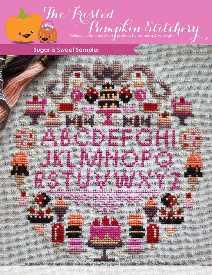 Sugar is Sweet counted cross stitch pattern. A hot pink alphabet surrounded by baked goods and sweet treats.