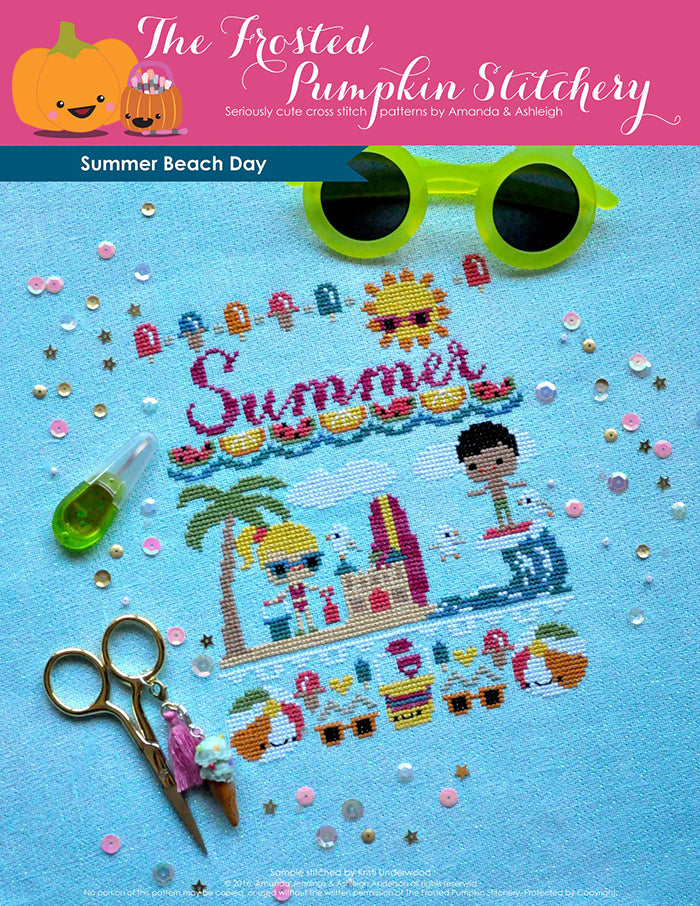 "Summer Beach Day counted cross stitch pattern. A blonde haired girl and black haired boy are playing at the beach. Text reads ""Summer""."
