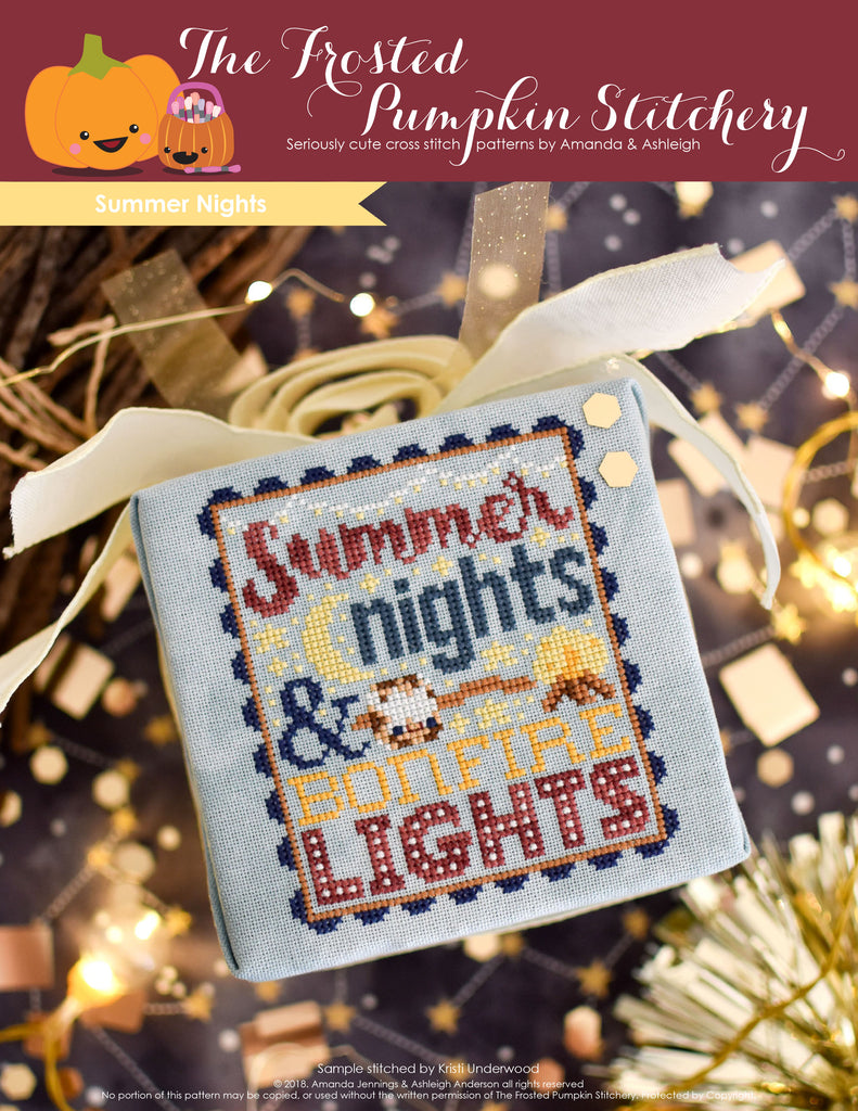 "Summer Nights Counted Cross Stitch Pattern. Image of a cross stitch pattern with text that says ""summer nights and bonfire lights"". There is a marshmallow on a stick and a bonfire in the pattern."