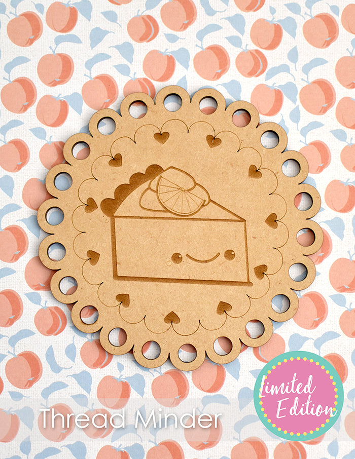 Sweet as Pie Wooden Thread Minder made from wood on a peach background.