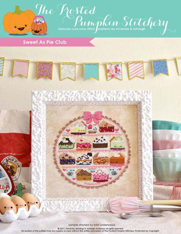 Sweet as Pie counted cross stitch pattern. Twelve kawaii pies cross stitch pattern in a white frame surrounded by baking supplies.