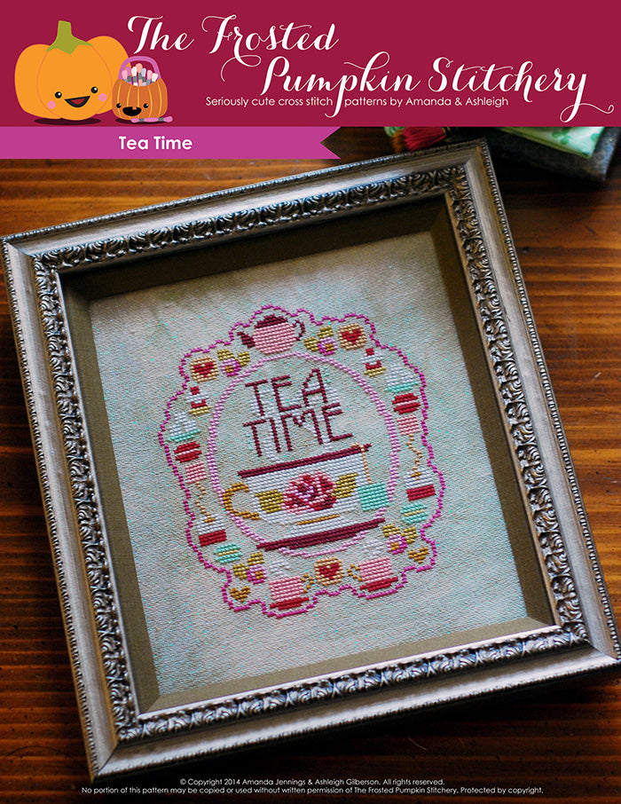 Tea Time counted cross stitch pattern. A cup of tea with a tea bag, surrounded by various tea time treats such as sugar cubes, macarons and biscuits.