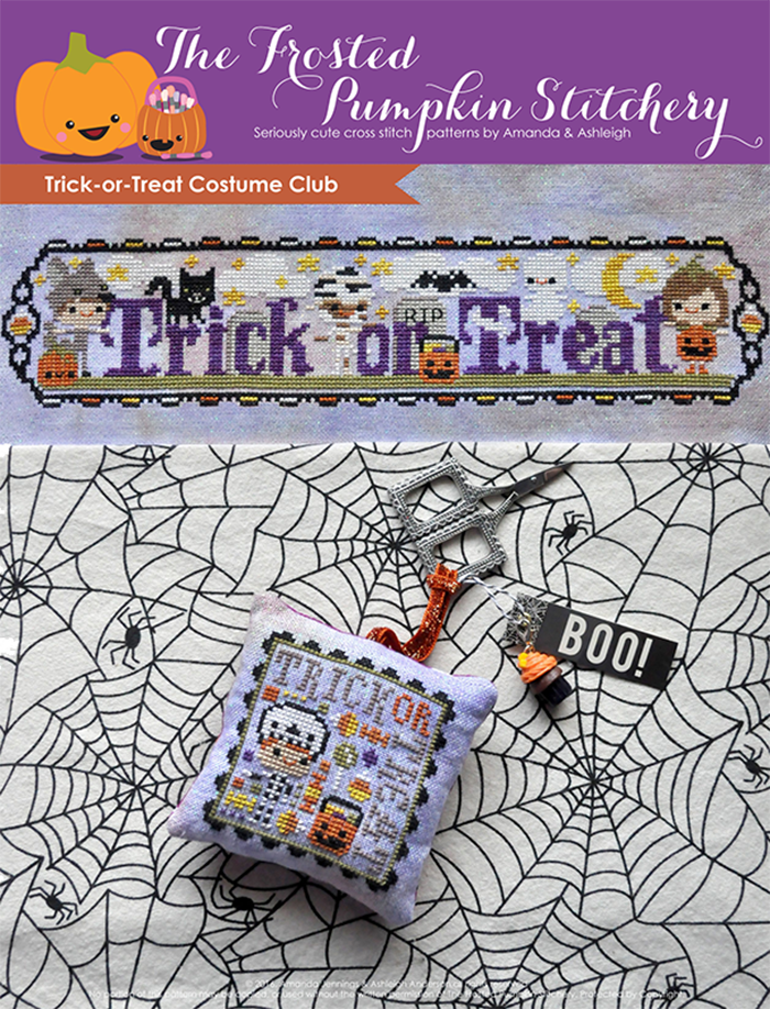 "Trick or Treat Costume Club counted cross stitch pattern. Three trick-or-treaters dressed as a wolf, a mummy and a pumpkin. Text says ""Trick or Treat""."