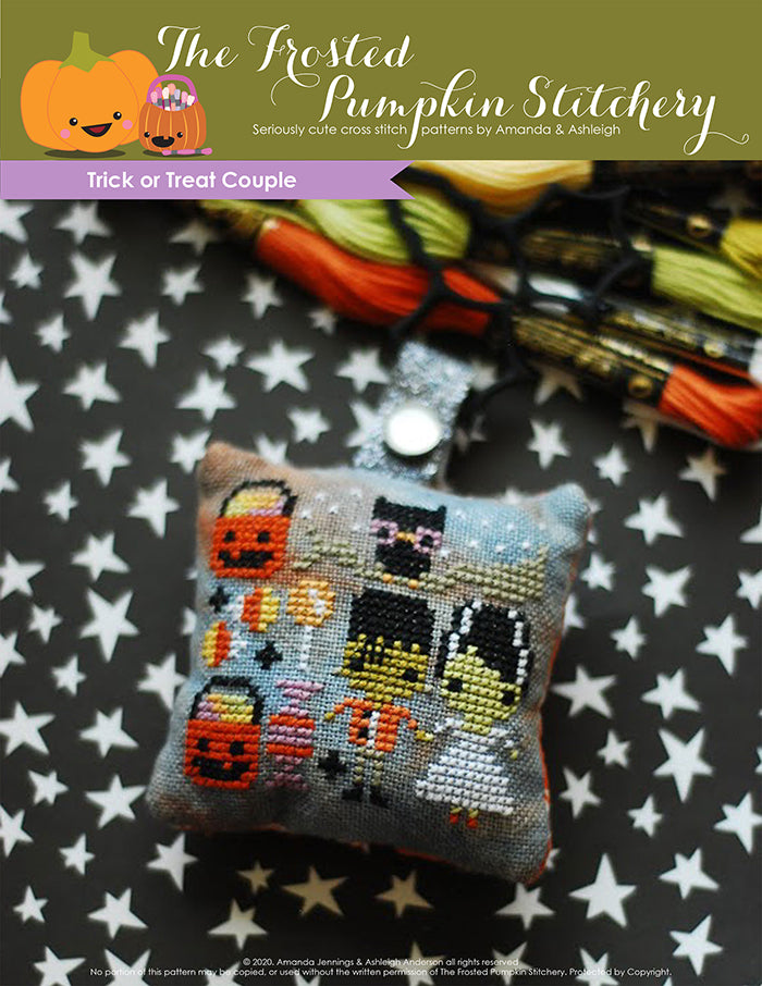 Trick or Treat Couple Counted Cross Stitch Pattern. Frankenstein and his Bride are getting ready for Halloween night. Surrounded by pumpkin candy buckets and candy. Above them sits an owl on a branch.