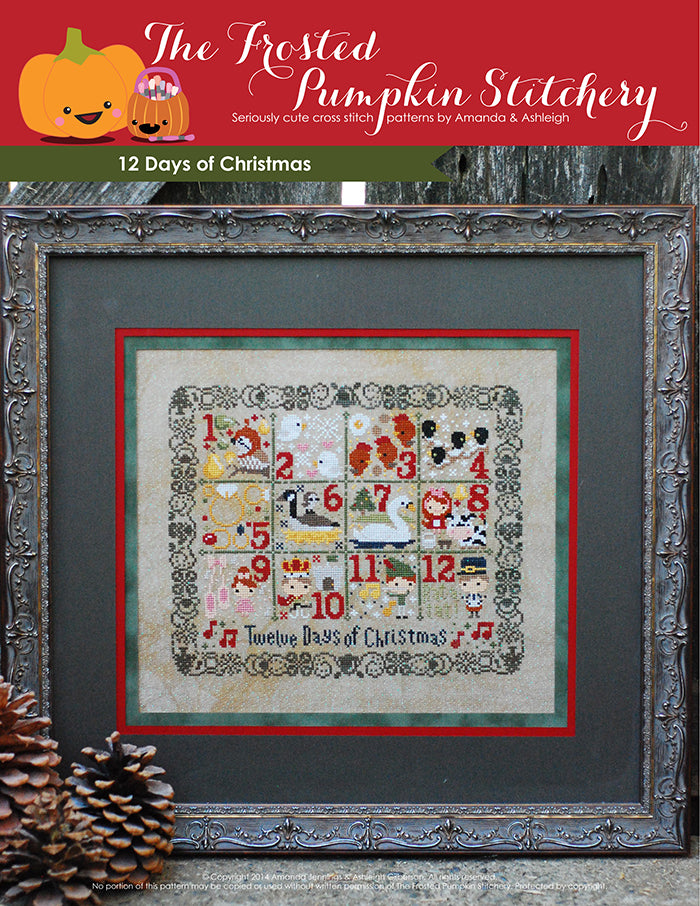 12 Days of Christmas counted cross stitch pattern with a lace border, a partridge in a pear tree and all the elements of the song.