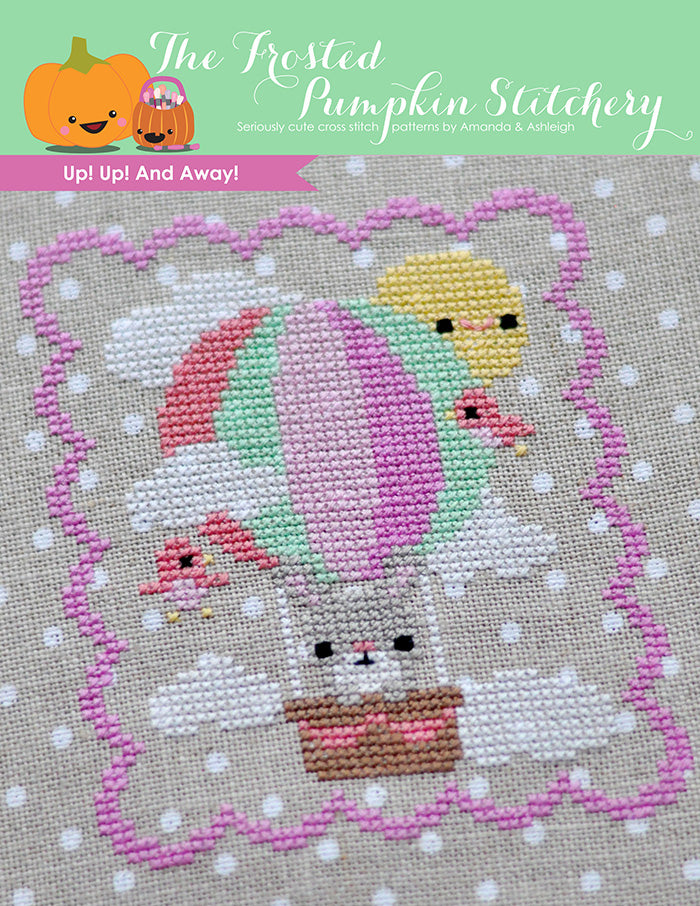 Up Up and Away counted cross stitch pattern. A bunny riding in a hot air balloon in the sky.