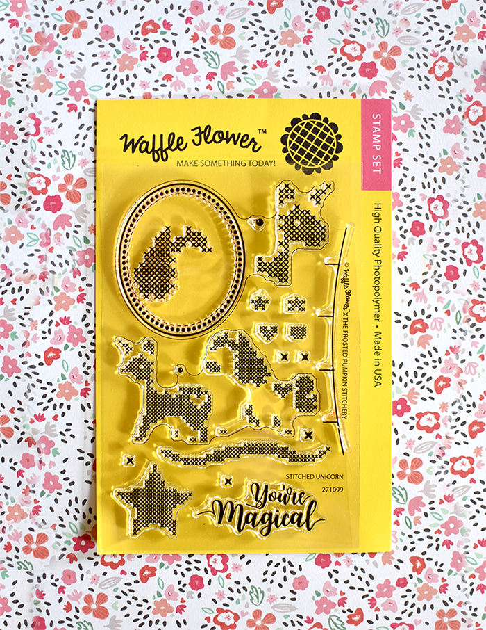 Waffle Flower Cross Stitch You're Magical Stamp Set. Unicorn stamps in a cross stitch style.