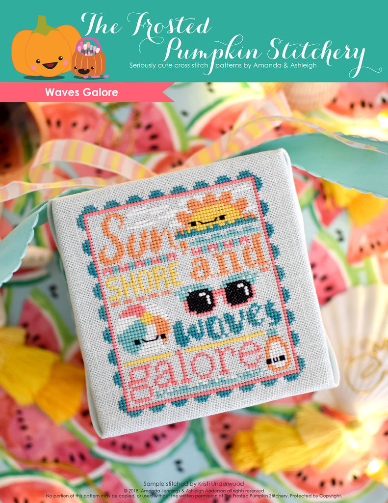 Waves Galore Counted Cross Stitch Pattern. Image of a kawaii sun, beach ball, sunglasses and sunscreen. Tropical colors including aqua, bright pink and oranges. Text in the chart reads Sun, Shore and Waves Galore.