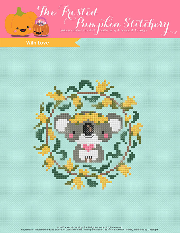 With Love counted cross stitch pattern. A koala holds a heart and is surrounded by golden wattle.