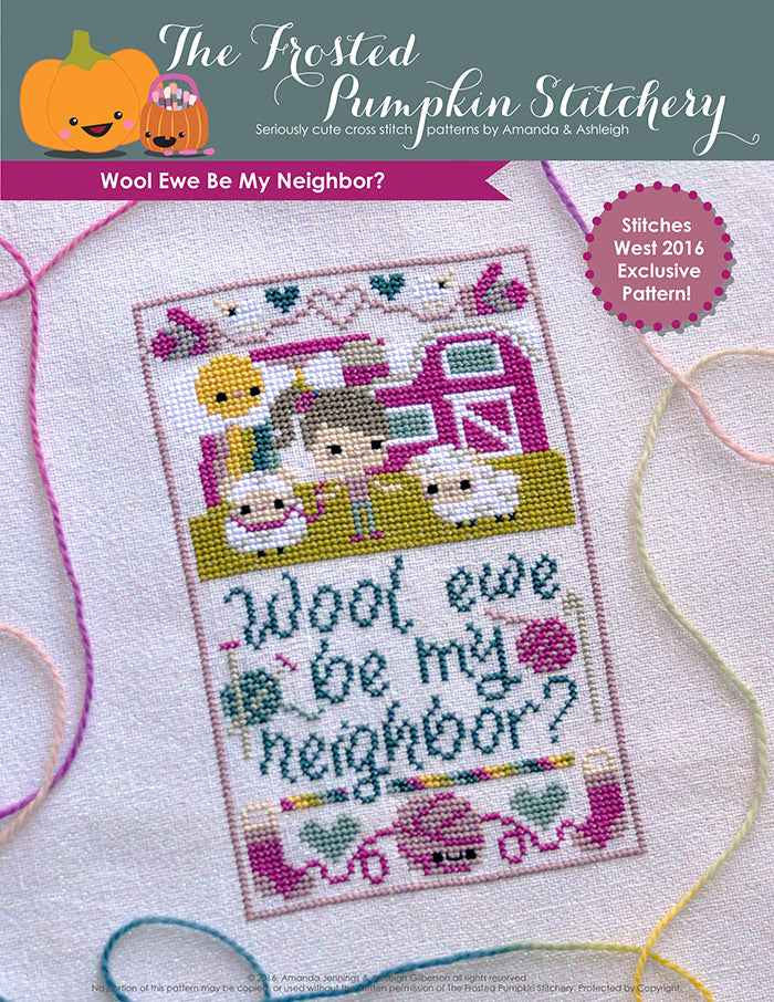 "Wool Ewe Be My Neighbor counted cross stitch pattern. Sheep are with a farmer with pale skin and gray brown hair with a pink barn in the background. Text reads ""wool ewe be my neighbor""?"