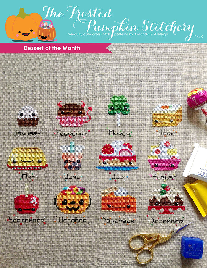 Dessert of the Month counted cross stitch pattern. Twelve kawaii desserts, one for each month.
