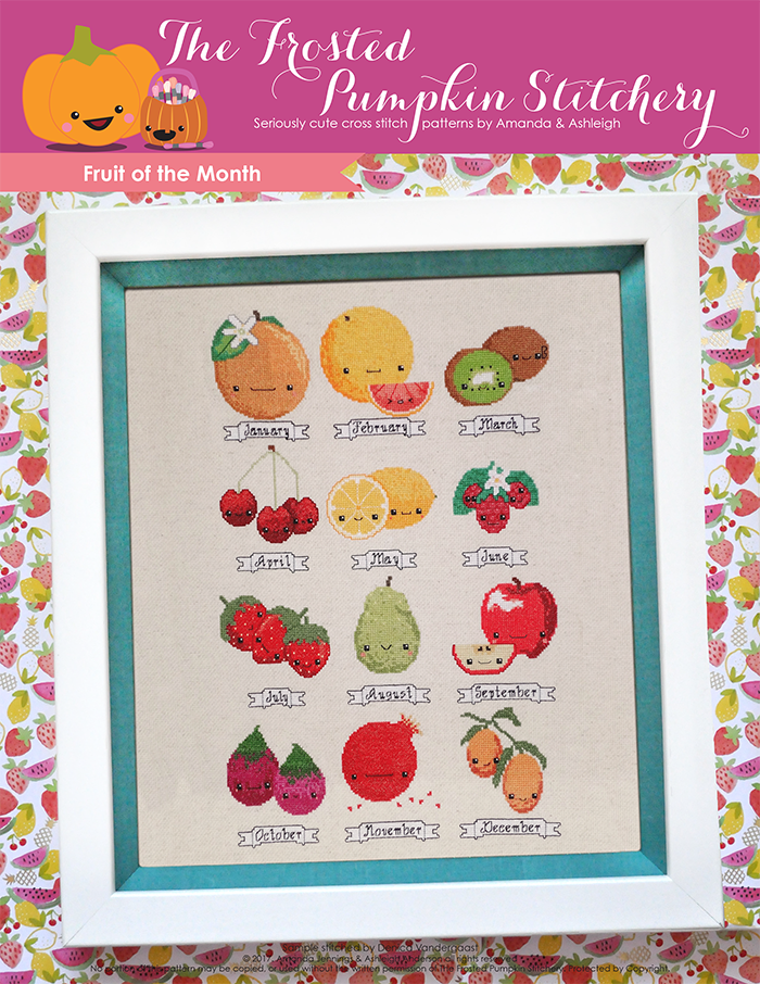 Fruit of the Month counted cross stitch pattern. Twelve kawaii seasonal fruits, all with faces.
