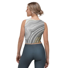 Lade das Bild in den Galerie-Viewer, Yoga Crop-Top in angesagtem grau und gold (Golden Grey)