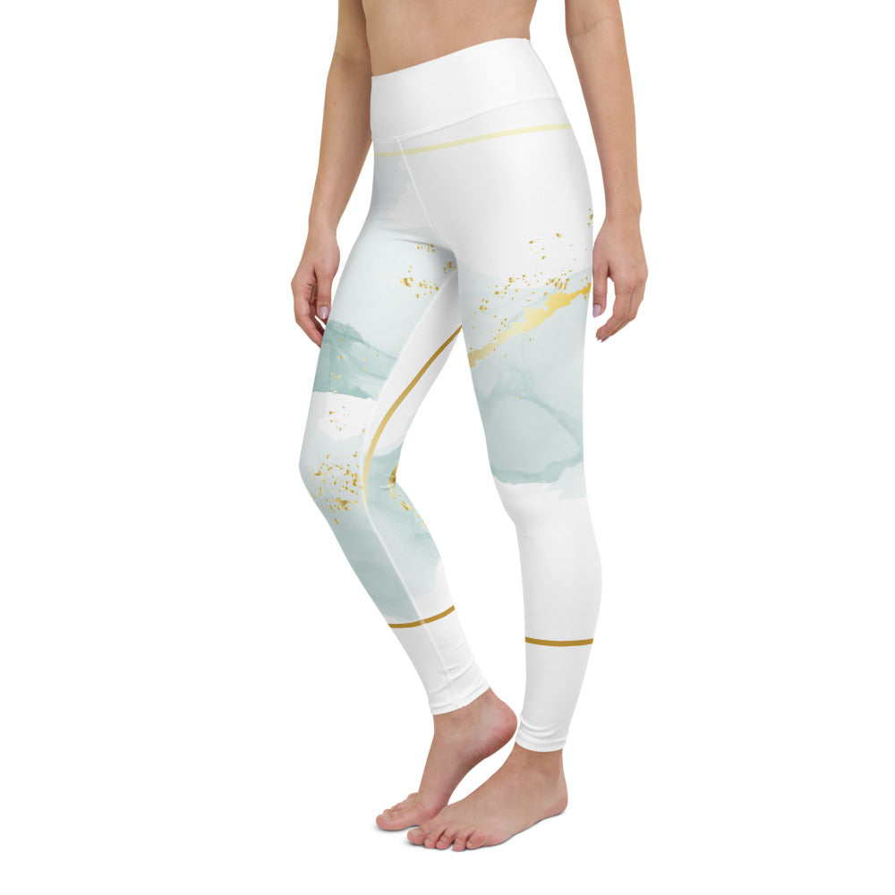 Yoga-Leggings im angesagten Watercolour-Design mit zarten Pastellfarben (Nordic Gold) - Yoga & Soul Fashion