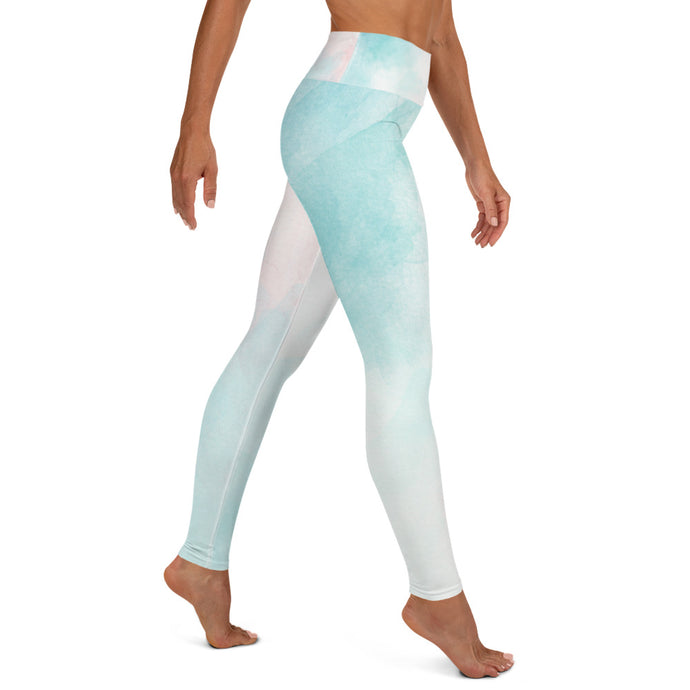 Yoga-Leggings in einer zarten Kombination aus weiß, mint und blau (Silent Queen) - Yoga & Soul Fashion