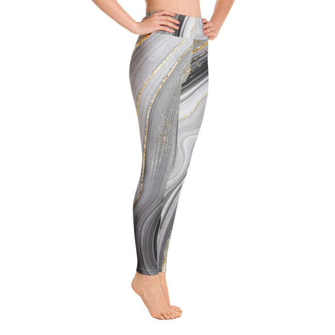 Yoga-Leggings in zartem grau mit tollem Goldschimmer (Golden Grey) - Yoga & Soul Fashion