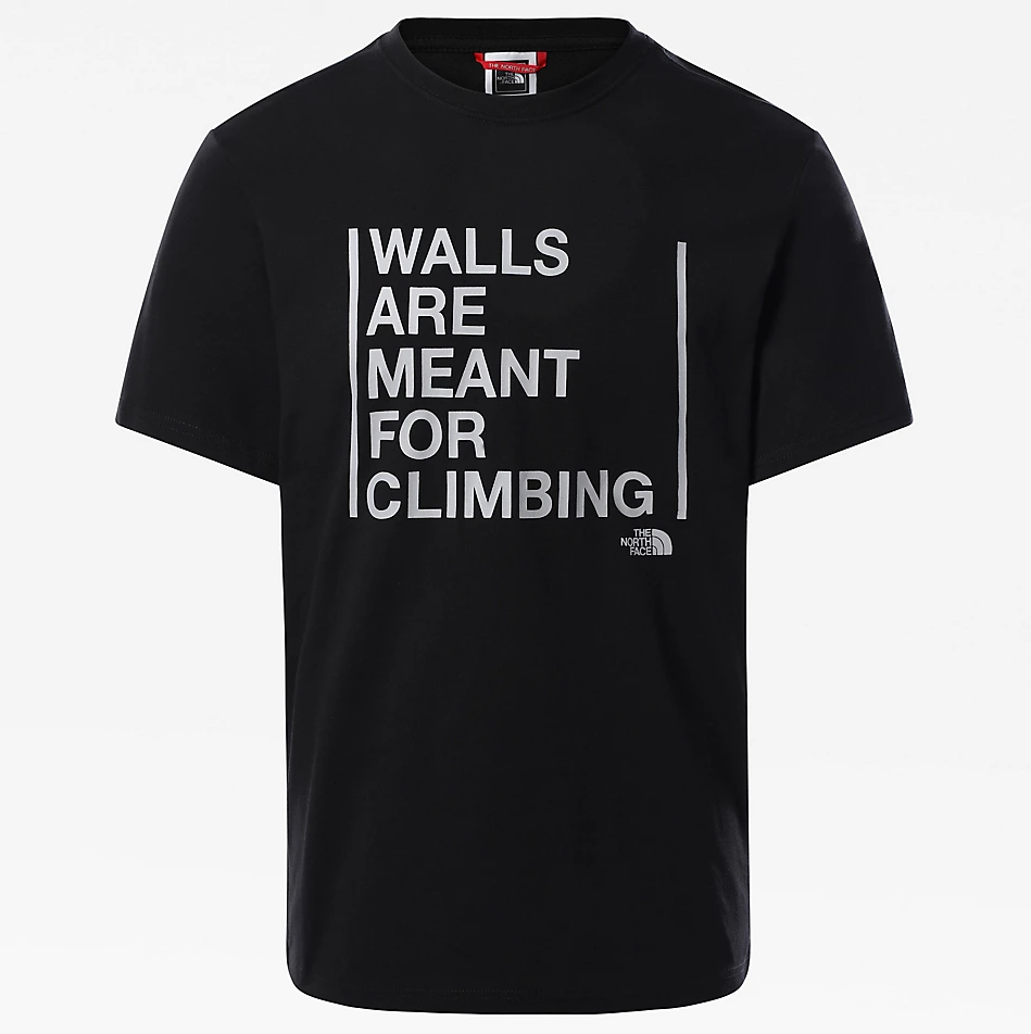 MEN'S S/S WALLS ARE FOR CLIMBING TEE BLACK