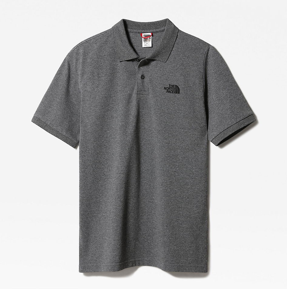 MEN'S POLO PIQUET MEDIUM GREY HEATHER / TNF BLACK