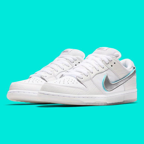 NIKE SB DUNK LOW PRO OG QS DIAMOND WHITE / CHROME
