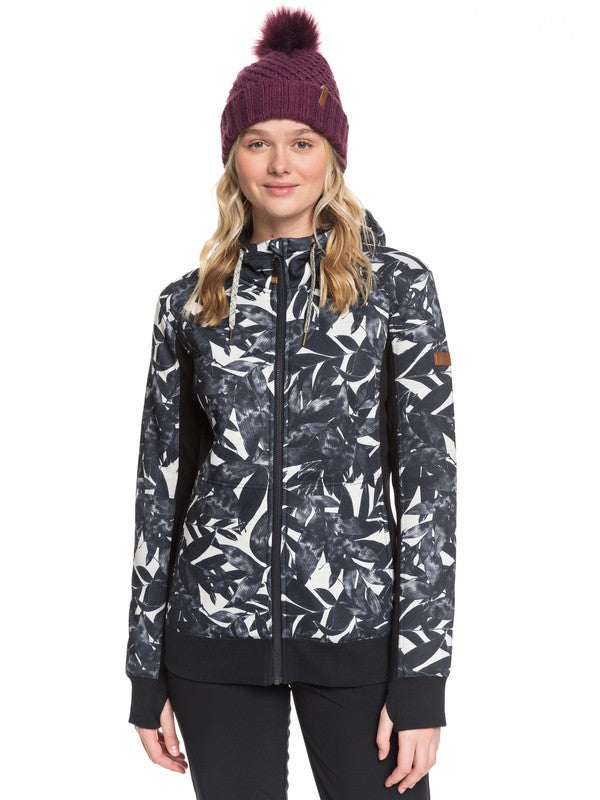 ROXY W20 FROST PRINTED SNOW ZIP HOODIE OYSTER GREY HAWAIIAN PALM LEAF