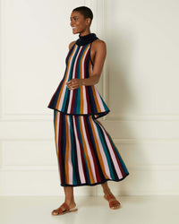 N.Peal Lurex-Stripe-Midi-Skirt-Multi