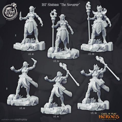 Shahana The Sorceress comes in two Poses (A and B) and 3 levels (1, 10, 20)