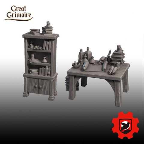 Study Furniture Pack by Great Grimoire - Mecha.Net Studios