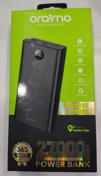 Oraimo 27,000 mAh fast Charging Power Bank