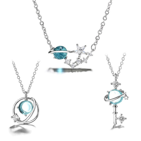 3 Styles Sea Blue Moon Star Earth Starry Sky Pendant Necklaces Astronomy Jewelry N58F