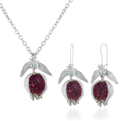 Vintage Fruit Red Pomegranate Jewelry Set Gemstone Pomegranate Pendant Earrings N58F
