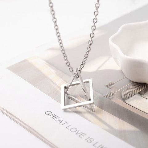 Stereoscopic Square Triangle Pendant Geometric Stainless Steel Necklace  Unisex N58F