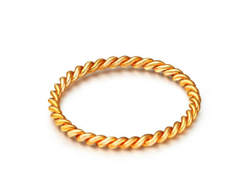 Fashion Au750 Real  Yellow Gold Women's Rope Ring