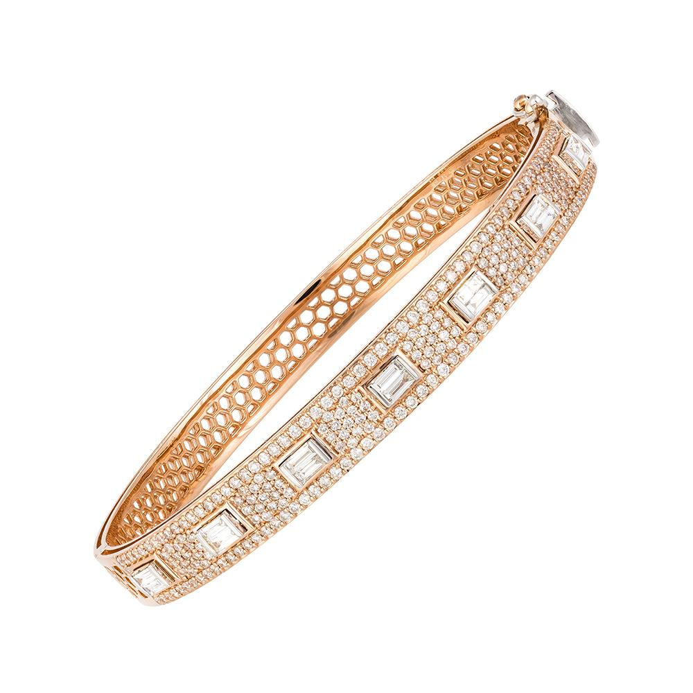 Rose Gold Diamond Baguette and Round Bangle