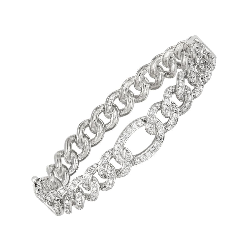 White Gold diamond cuban eternity bracelet