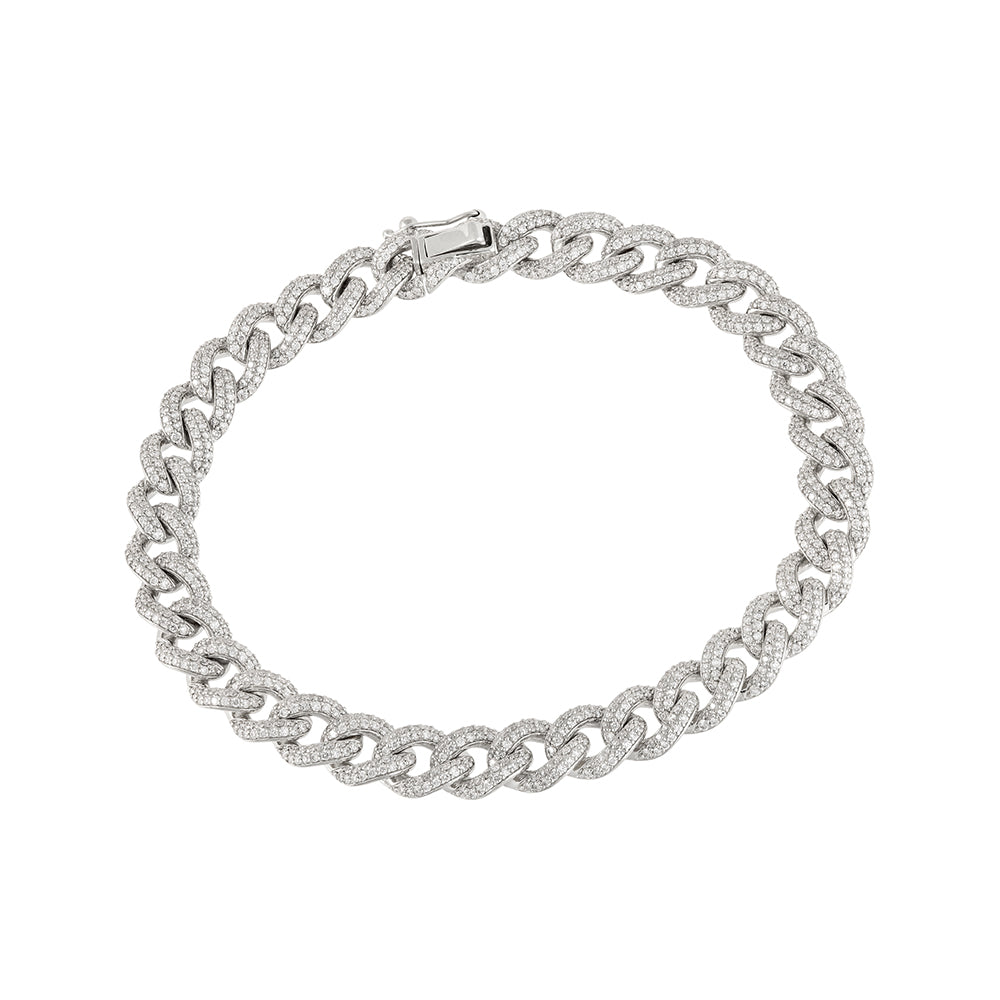 White Gold diamond encrusted cuban bracelet