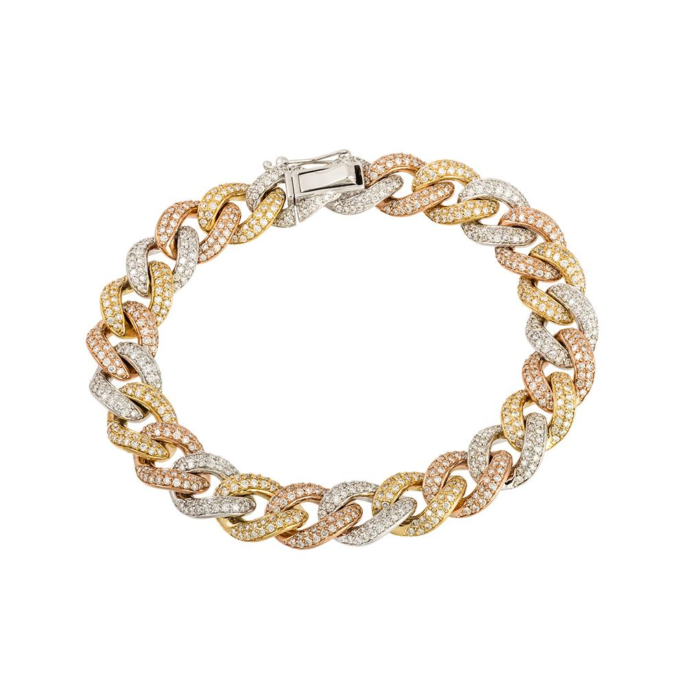 White & Rose Gold diamond encrusted cuban bracelet