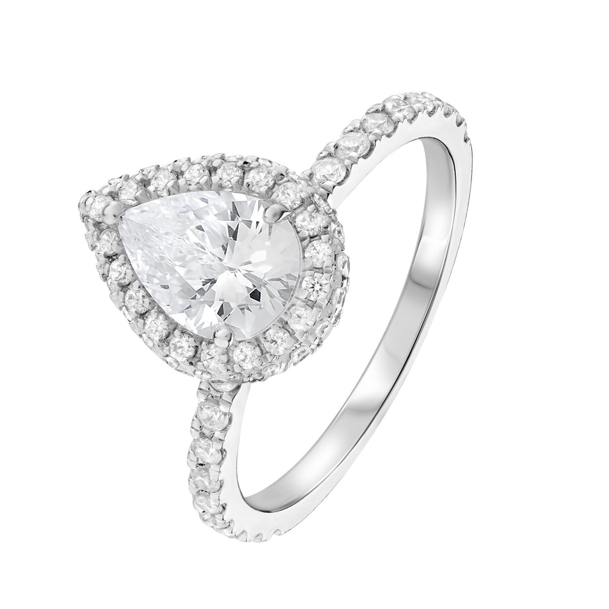 Pear Diamond Underhalo Engagement Ring