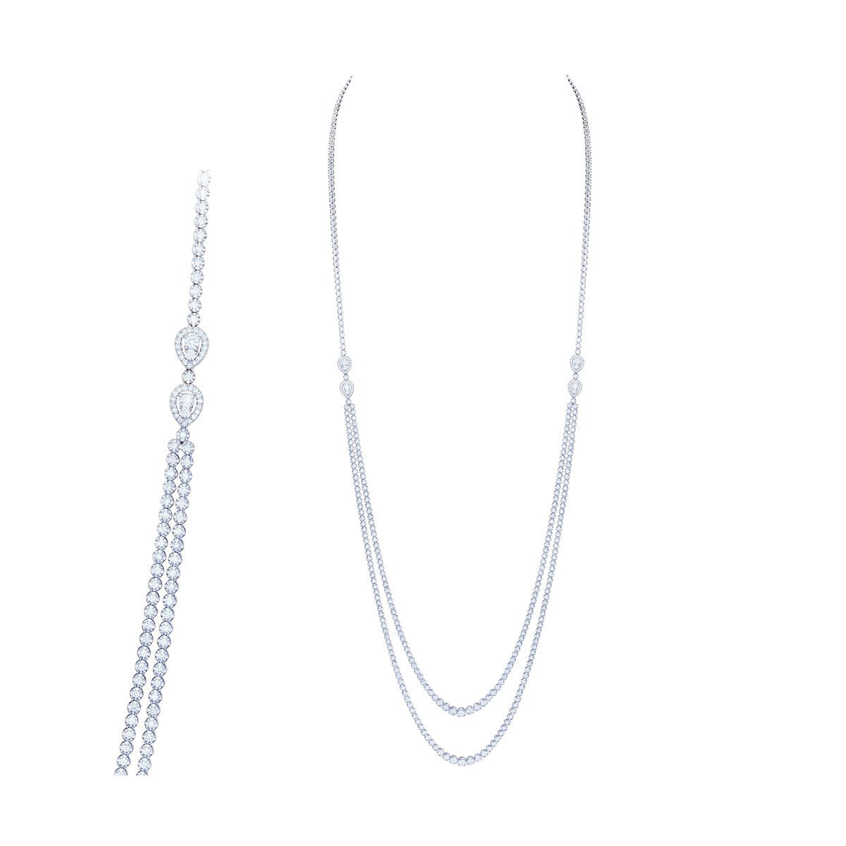 White Gold Deep Diamond Drop Necklace with a Double Chain