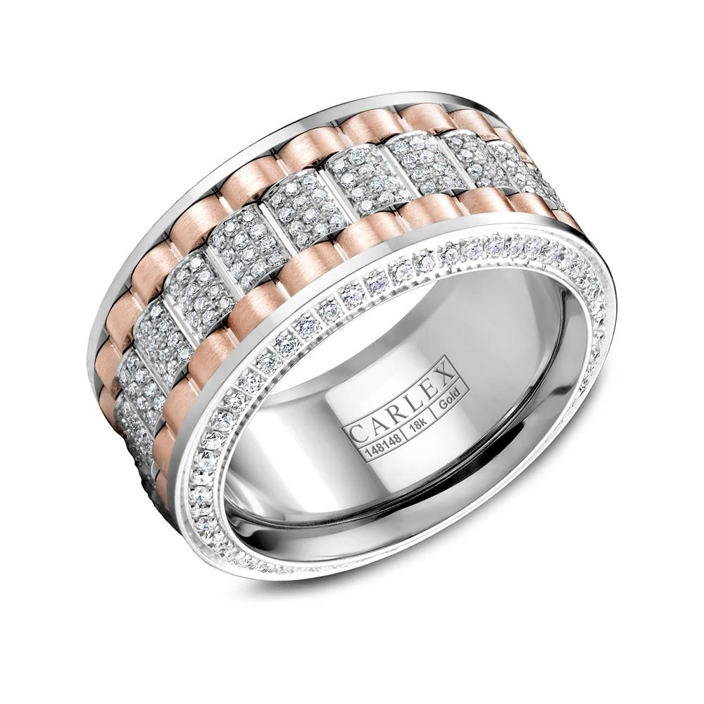Diamond Double Tone 3 Row Ring with a Frosted Finish