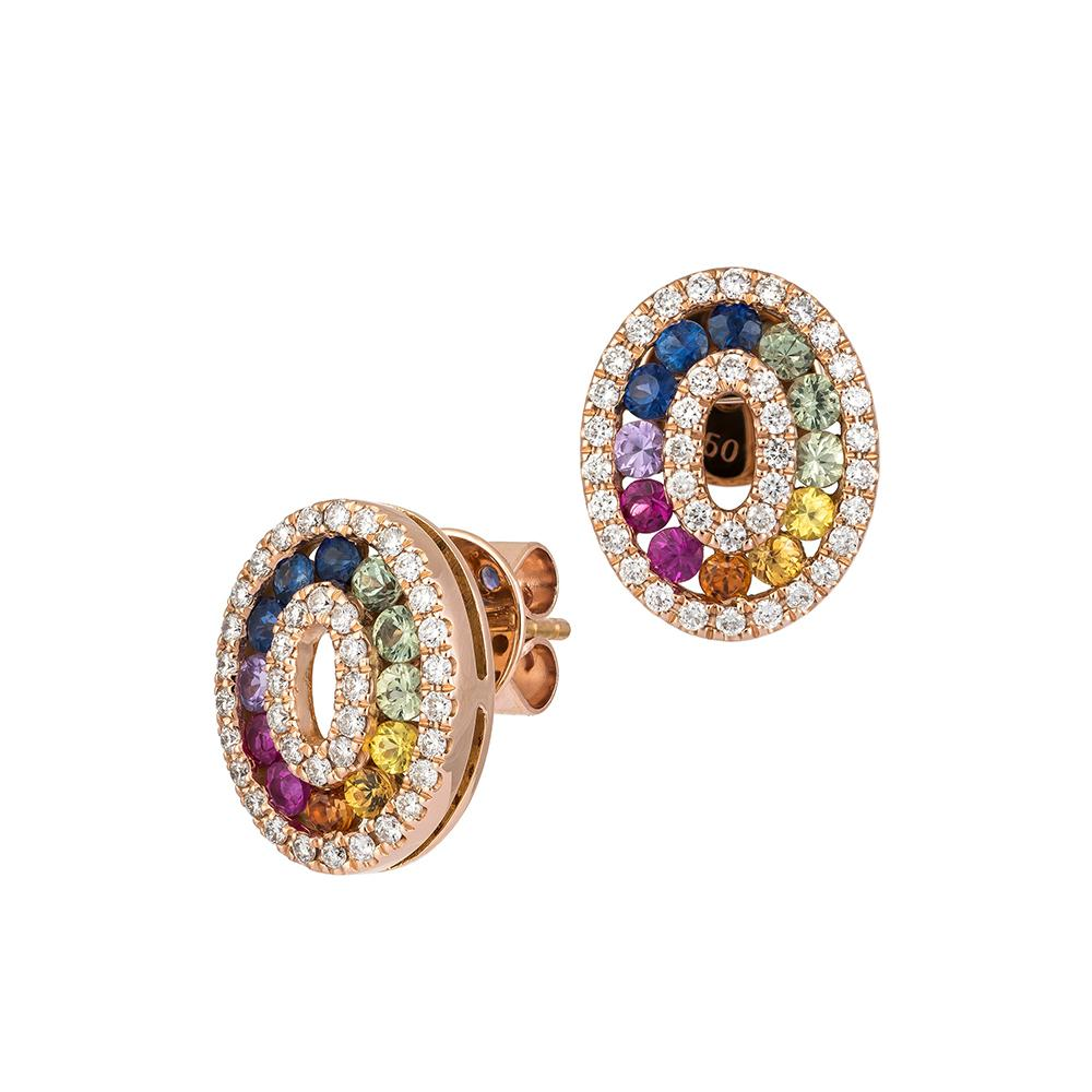 Multicolour Diamond Gemstone Oval Cluster Earrings set in 18ct Rose Gold