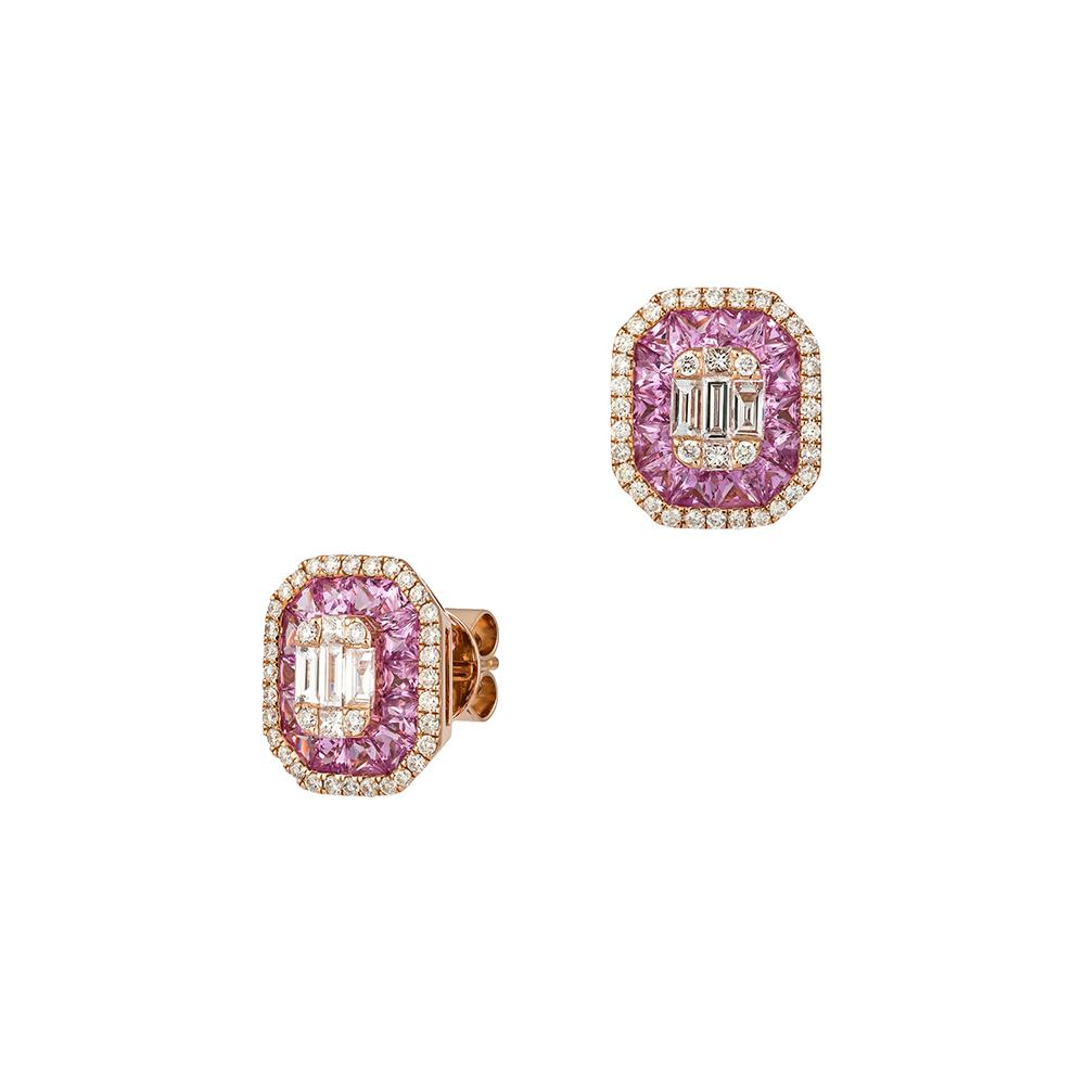Pink Sapphire Diamond Baguette Halo Earrings in 18ct Rose Gold
