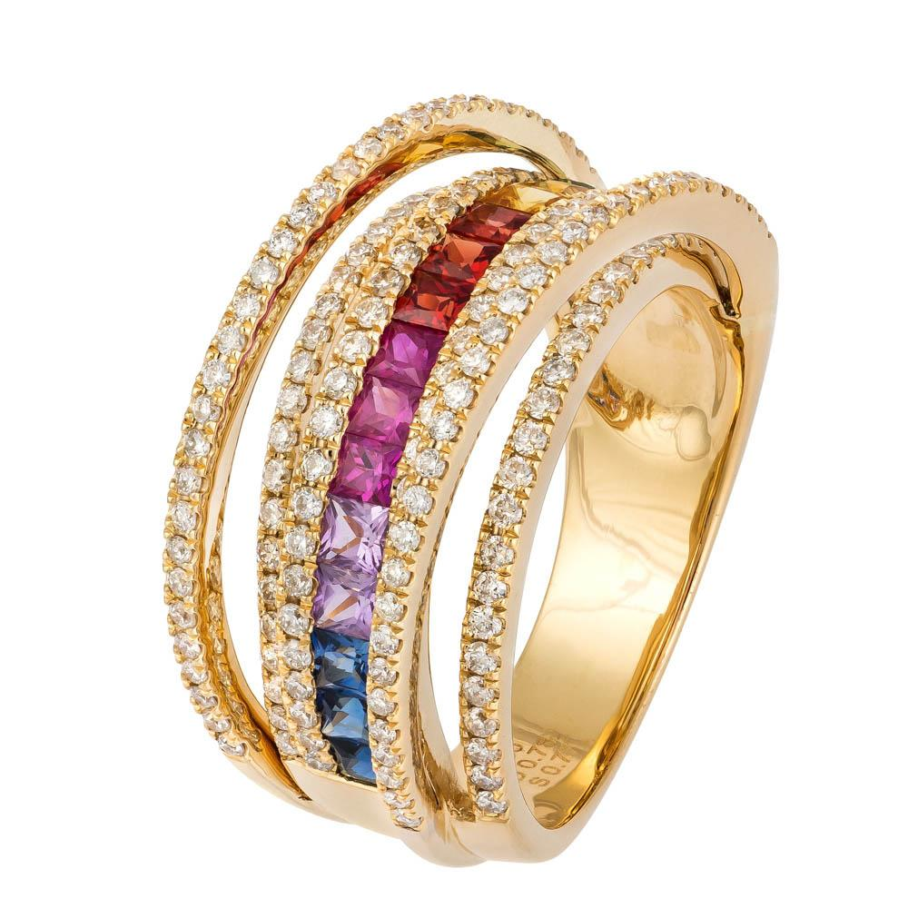 Yellow Gold multicolour diamond set track ring