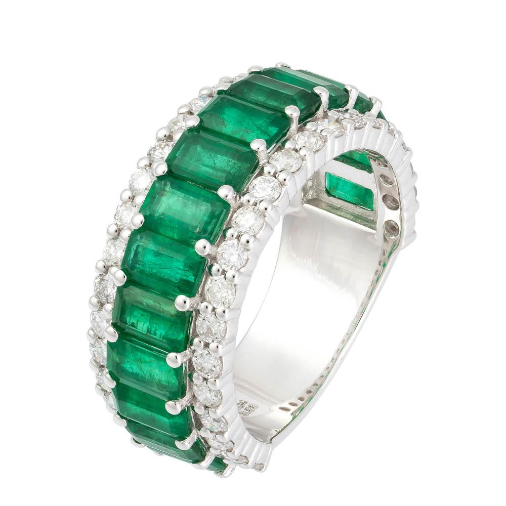 White Gold diamond and green emeralds 3 row eternity ring