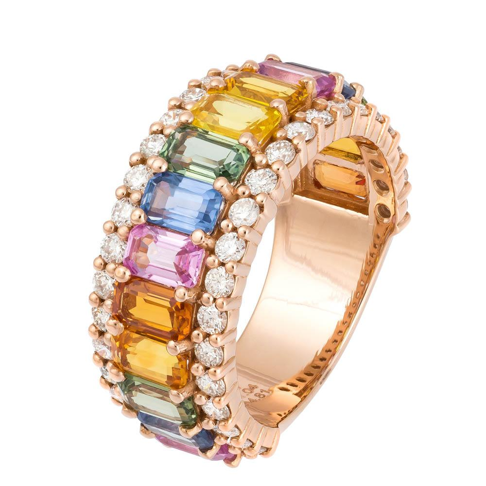 Rose Gold Multi Colour Gemstones and Diamond Eternity Ring