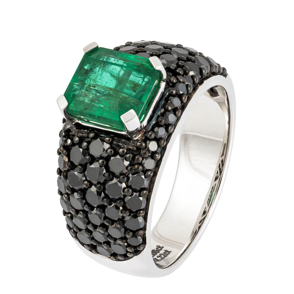Black Diamond Signet Ring with a Green Emerald Centre Stone