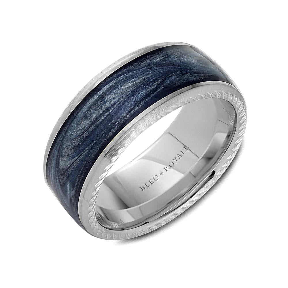 Blue Midnight Platinum Enamel Luxe Ring