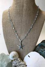 Load image into Gallery viewer, Aquamarine and Abalone Starfish Necklace