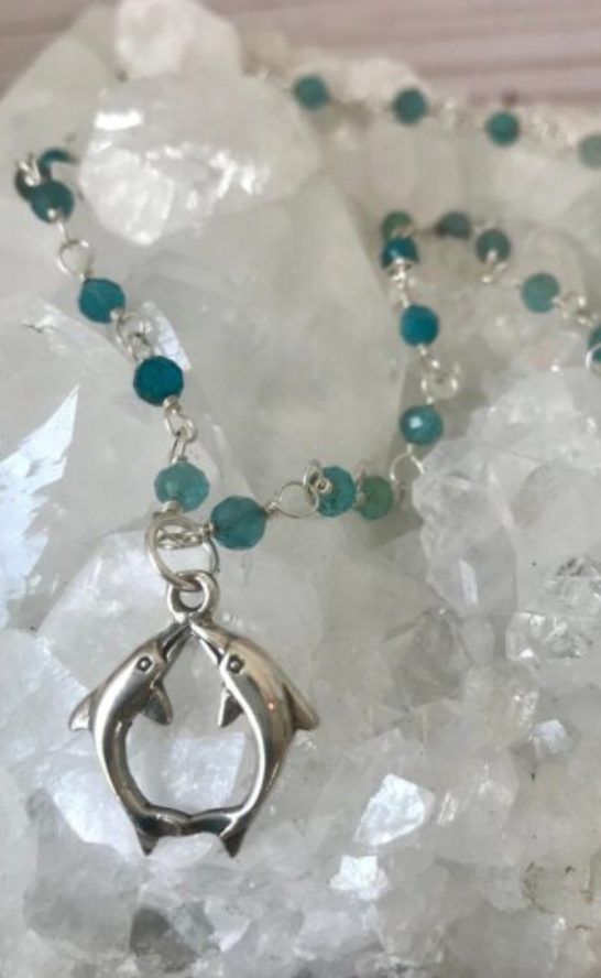 Sterling Silver and Apatite Dolphin Necklace